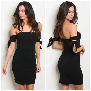 🔥COMING SOON!! Black Off Shoulder Dress
